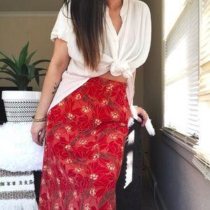 Vintage high waist floral a line midi skirt b3